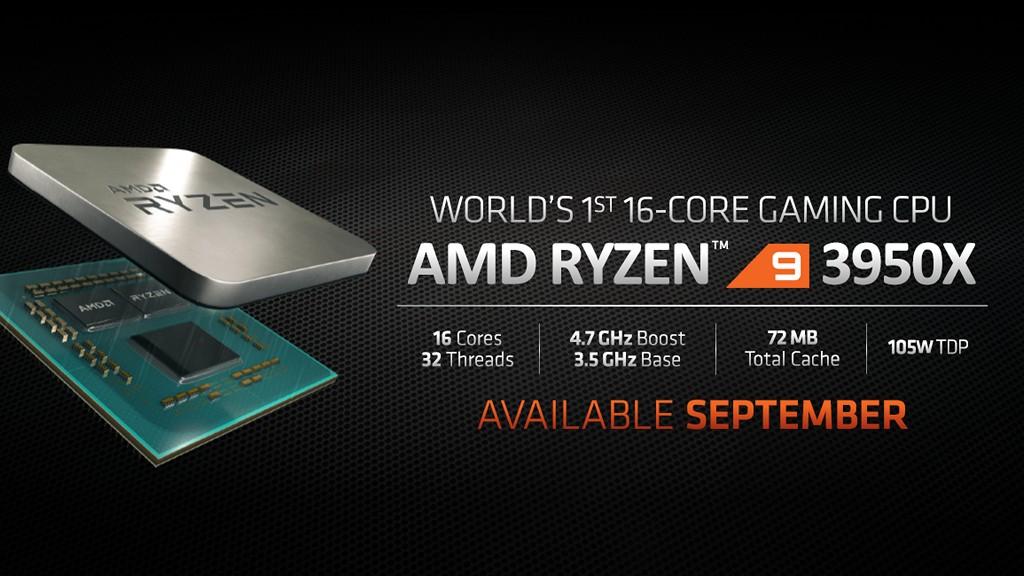 ▲ AMD 將推出 2 個 CCD 晶粒內部處理器核心全開的 Ryzen 9 3950X,Boost 時脈達 4.7GHz,TDP 與 Ryzen 9 3900X 相同均為 105W,預計 2019 年 9 月�式發售,建�售價美金 749 元,折合新台幣約 23,450 元。