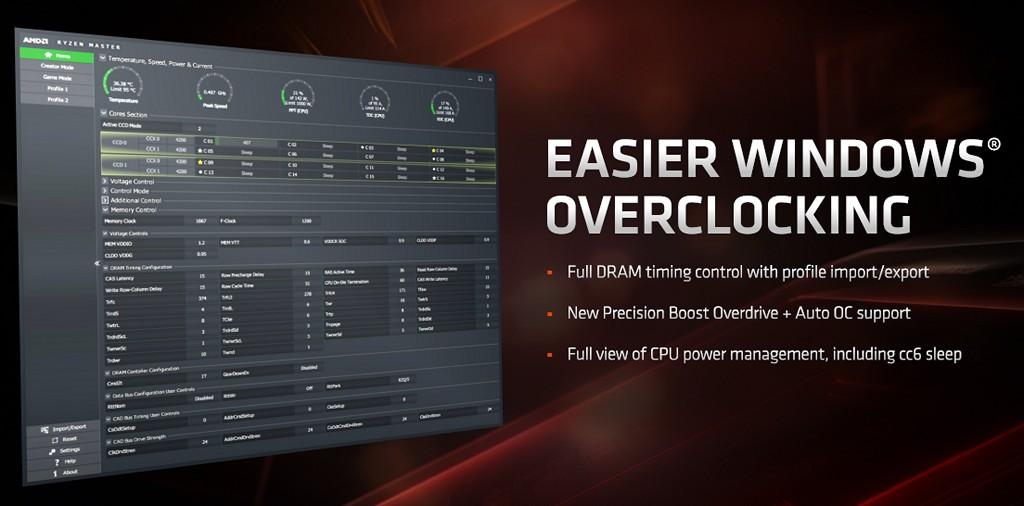 ▲ Ryzen Master 功能多更多,包含記憶體全部時序控制、�定檔匯入/匯出、新版 PBO 與自動超頻支援性、處理器電源管理狀態顯示。