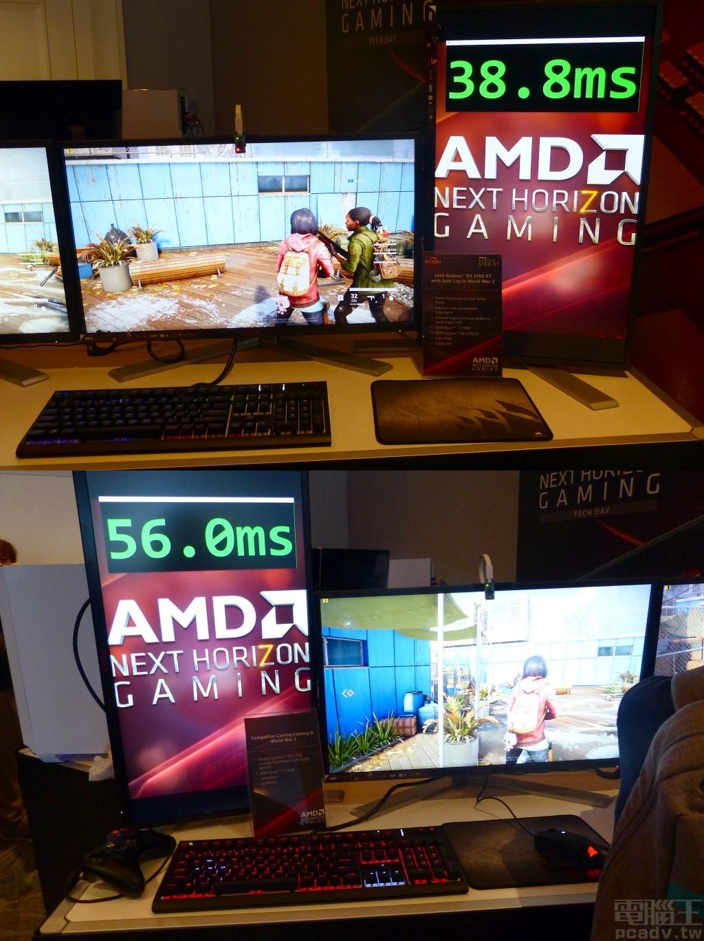 ▲ 實際展示 Radeon RX 5700 XT 開啟 Radeon Anti-Lag 與 NVIDIA GeForce RTX 2070 的反應時間比較,前者僅為 38.8ms,後者為 56ms。