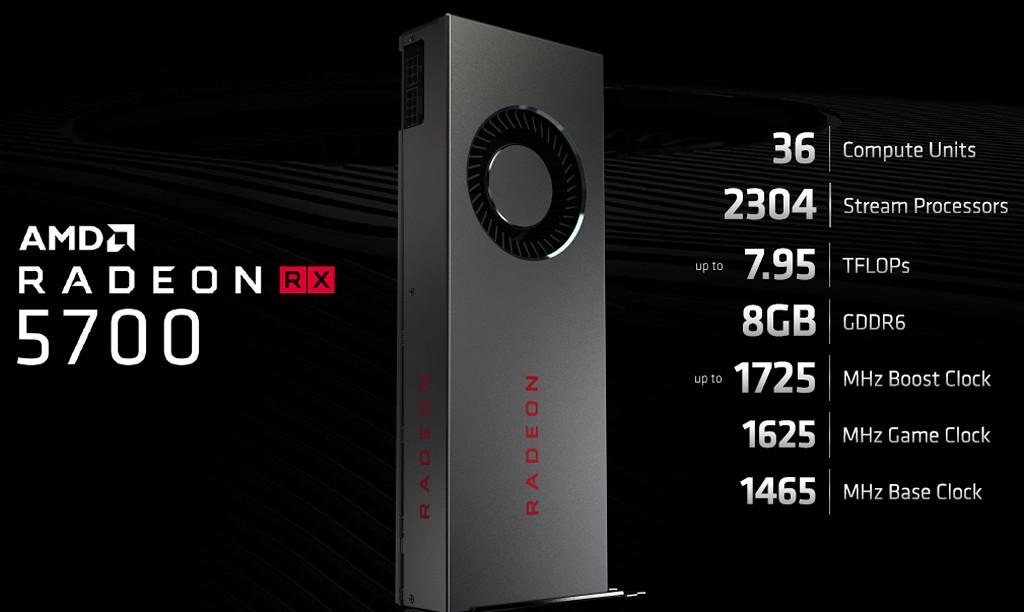 ▲ Radeon RX 5700 顯示卡配備 36 個 CU/2304 個串流處理器,效能假想敵為 GeForce RTX 2060。