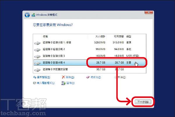 6.於跳出視窗點確認後,Windows會自動建立多個分割區,這就是GPT用來備援、修復的隱藏槽。請選擇寫著「主要」的分割區後按下一�。