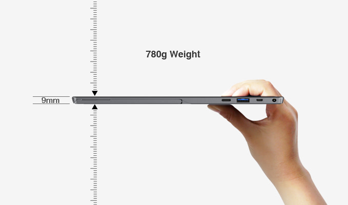 機身本體厚度只有9公釐,重量則為780公克。