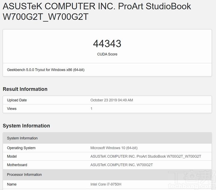 在 Geekbench 5 測試 CUDA,並選擇 Quadro T2000,獲得的分數 為 44,343 分。