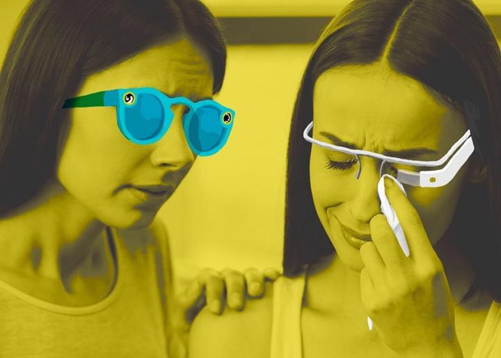 Snap 眼鏡和Google 眼鏡。圖片來源:Slate