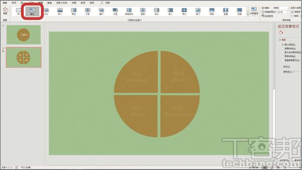6.如�一來就會新增與第一張相同的投影片,而在�頁�,可將四個餅狀向外拉開距離,並添加細部架構的文�,最後再加上「轉化」功能,創造出層層遞進的動畫效果。