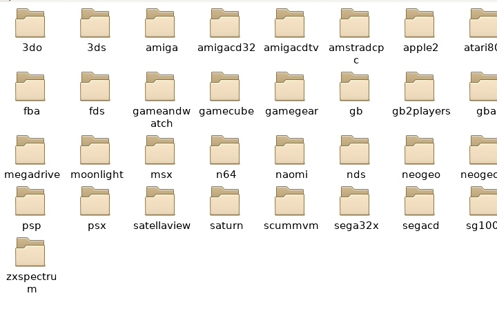 Roms儲�區有很多主機名稱的資料夾,玩家需將ROM、ISO放入對應資料夾。