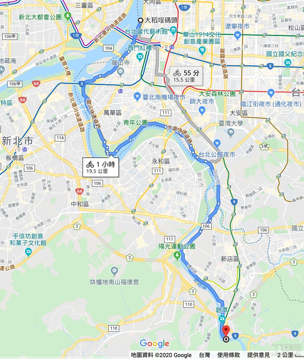 河濱單車道路線可以確實導航無誤