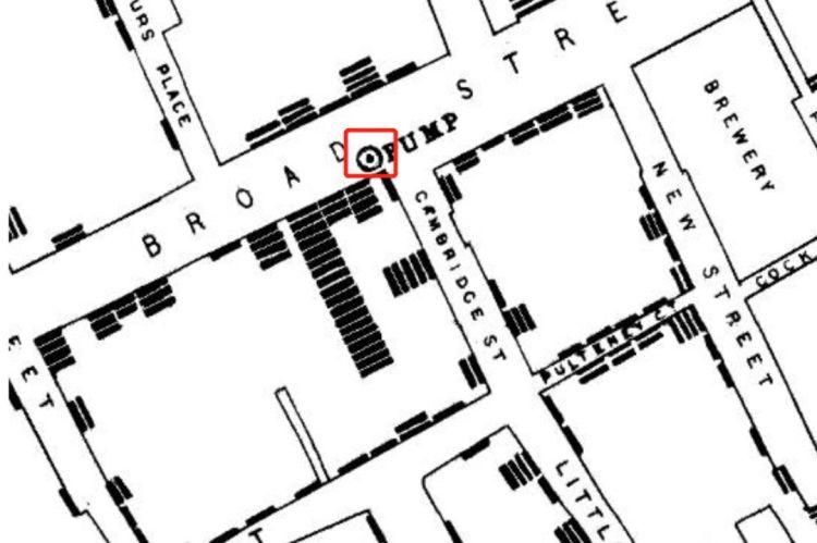 �亡地圖的�心地帶,紅框為水泵位置