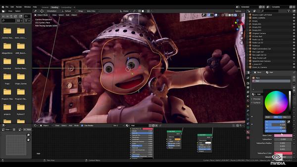 運用 NVIDIA RTX 加速 Blender 週期:Blender 是提供 Cycles Renderer 的開源 3D 軟體。Cycles 路徑追蹤器已取得 GPU 支援,現在可透過最新一代的 RTX GPU 更進一步提升效能。為了提高渲染速度,像是 OptiX Denoiser 的 RTX AI 功能可以推論渲染結果,以獲得真正的交互式光線追蹤體驗。