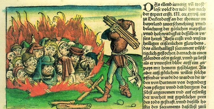 重大疾病的衝擊下,社會原有的弱勢或被拒斥群體,往往會成為「代罪羔羊」。黑�病期間,�洲便有大量猶太人被殺害。 圖片來源:《紐倫堡編年史》《紐倫堡編年史》