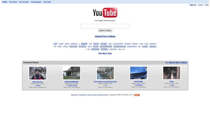 YouTube最初的首頁之一
