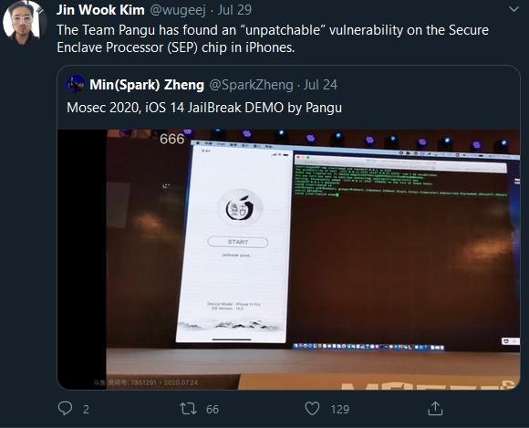 開發者Jin Wook Kim說明盤古越獄團隊找到Secure Enclave協同處理器中無法修補的漏洞。