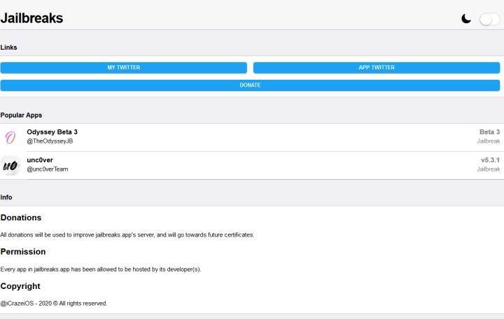 在電腦上瀏覽Jailbreaks.app網站雖然看的到內容,但無法安裝App。