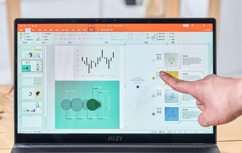 Summit E15 搭載 Full HD 解析度面板的版本支援觸控螢幕功能,在操作時能更直覺便利地透過螢幕來互動。