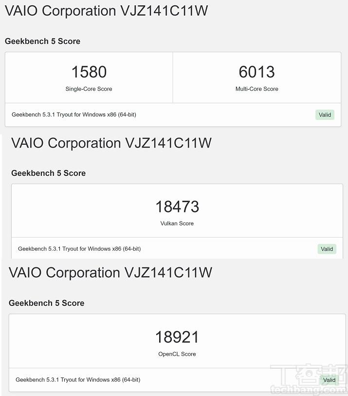 利用 Geekbench 5 進行測試,在單核心獲得 1,580 分,多核心獲得 6,013 分。此外,在 Vulkan 獲得 18,473 分,在 OpenCL 測試獲得的分數為 18,921 分。
