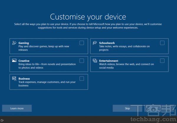 Windows 10後期改版才加入 Windows 10 OOBE �的「自訂體驗」選項,畫面風格就沒有 Windows 11如�生動活潑,很多人甚至不會仔細看且直接跳過。