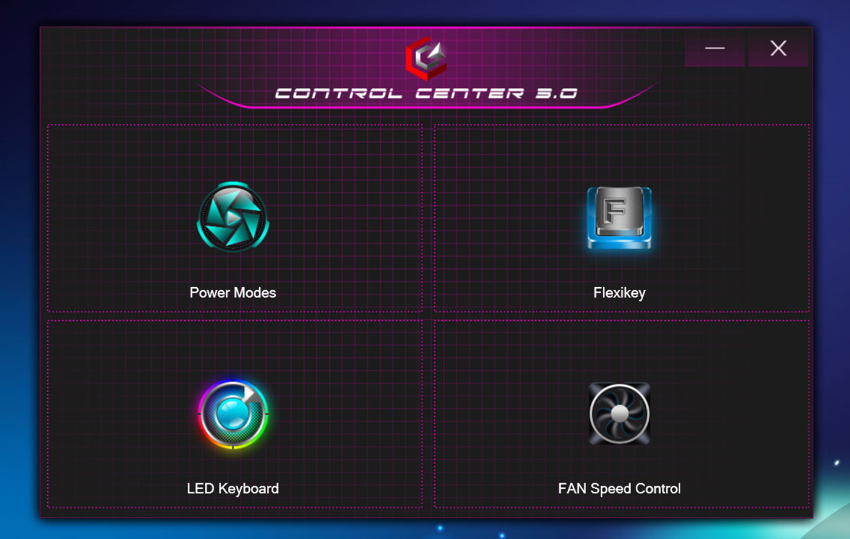 Genuine 捷元 ZEUS 15H 內建了「Control Center 3.0」工具,可快速呼叫運行模式(Power Modes)、鍵盤功能設定(Flexikey)、鍵盤背光設定(LED Keyboard)與風扇運行切換(FAN Speed Control)這主要功能。