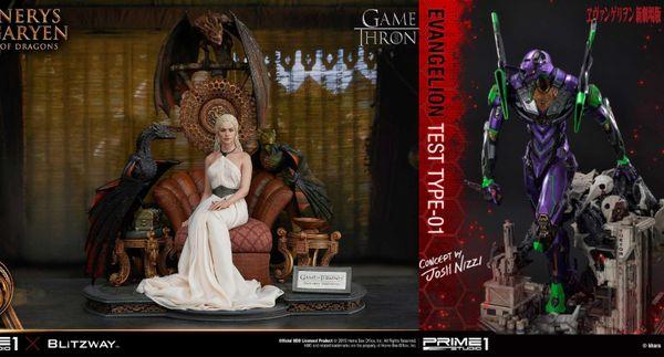 左:「UPMGOT-01權力遊戲:冰與火之�丹妮莉絲·坦格利安雕像」$41,400;右:UDMEVA-03新世紀福音戰士EVA初號機Josh Nizzi�計師款雕像」$43,000。