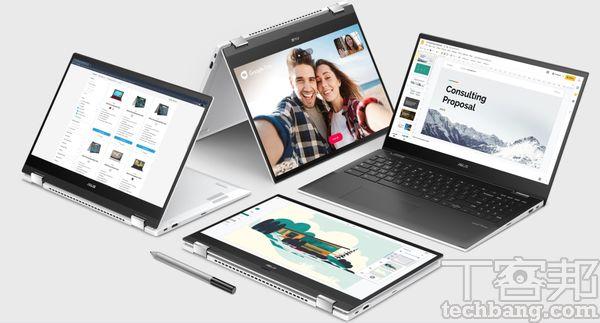 Chromebook 不單單只有傳統筆電模式,也會搭配觸控螢幕,將機身變換為不同模式使用。
